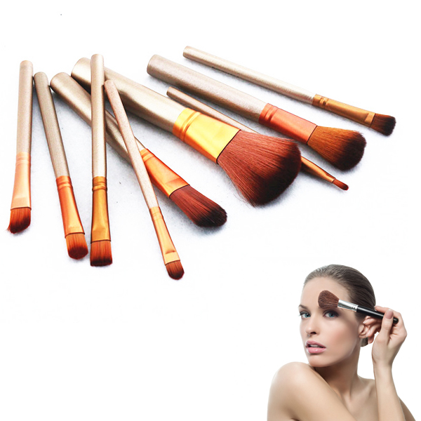 12pcs Handle Makeup Brush Set Facial Cosmetics Powder Foundation Blusher Cosmetic Brushes With Box