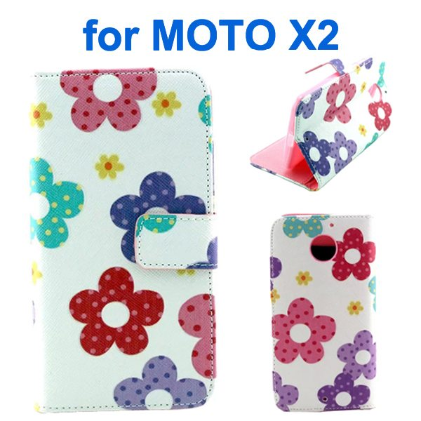 New Arrival Wallet Style Flip Leather Cover for Motorola Moto X2 (Flower Pattern)