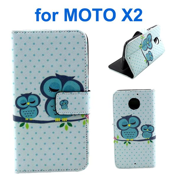 New Arrival Wallet Style Flip Leather Cover for Motorola Moto X2 (Owl Pattern)