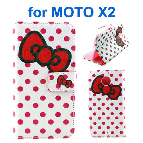 New Arrival Wallet Style Flip Leather Cover for Motorola Moto X2 (Bowknot Pattern)