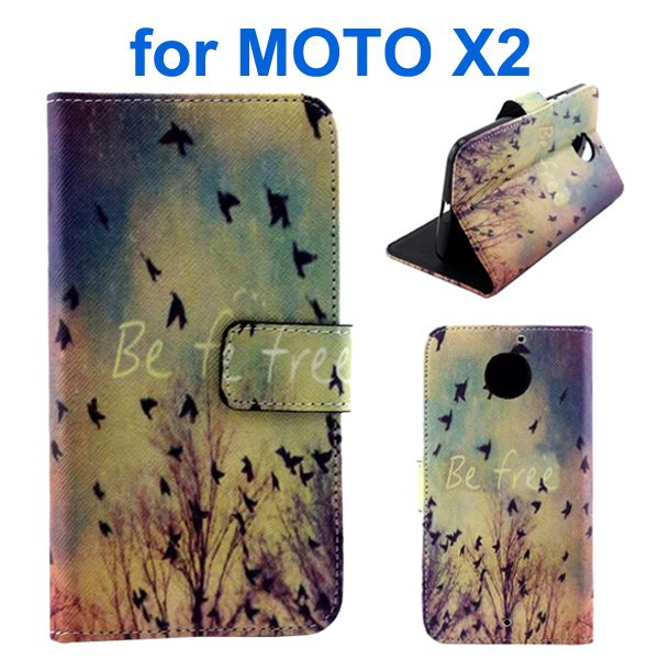 New Arrival Wallet Style Flip Leather Cover for Motorola Moto X2 (Flying Birds Pattern)
