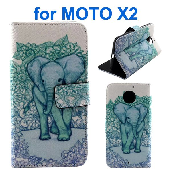 New Arrival Wallet Style Flip Leather Cover for Motorola Moto X2 (Elephant Pattern)