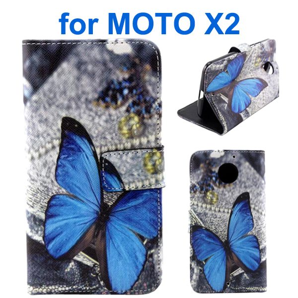 New Arrival Wallet Style Flip Leather Cover for Motorola Moto X2 (Butterfly Pattern)