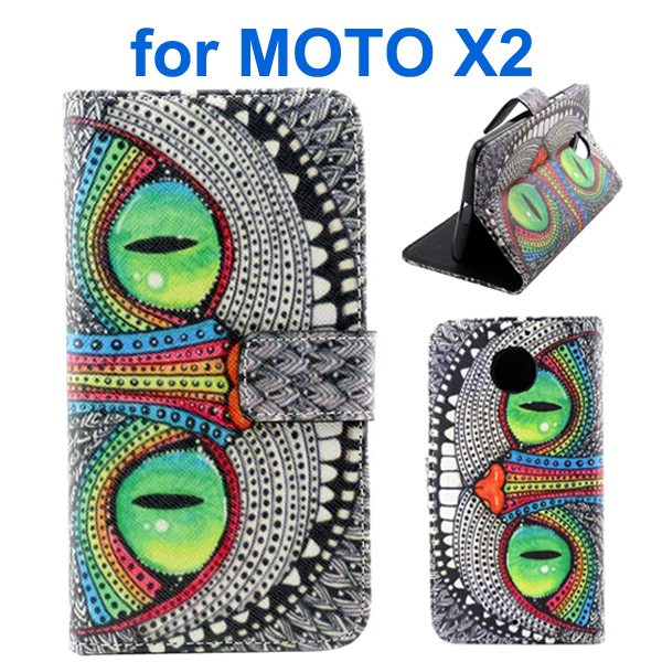 New Arrival Wallet Style Flip Leather Cover for Motorola Moto X2 (Owl Eyes Pattern)