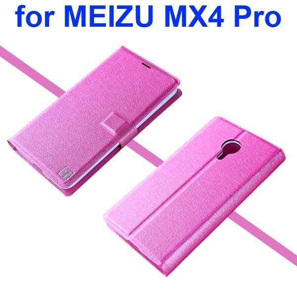 Silk Texture Wallet Flip Leather Case for MEIZU MX4 Pro with Stand (Hot Pink)