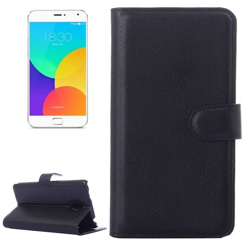 Litchi Texture Wallet Style Leather Case for Meizu MX4 Pro with Holder and Card Slots (Black)