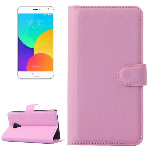 Litchi Texture Wallet Style Leather Case for Meizu MX4 Pro with Holder and Card Slots (Pink)