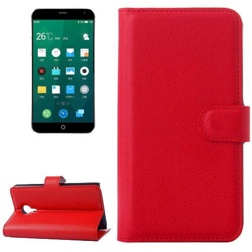 Litchi Texture Wallet Style Leather Case for Meizu MX4 with Holder and Card Slots (Red)