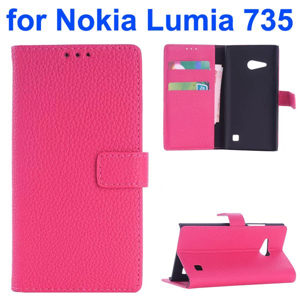 OEM Factory China Litchi Texture Wallet Mobile Flip Cover for Nokia Lumia 735 (Rose)