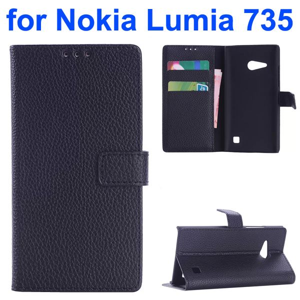 OEM Factory China Litchi Texture Wallet Mobile Flip Cover for Nokia Lumia 735 (Black)