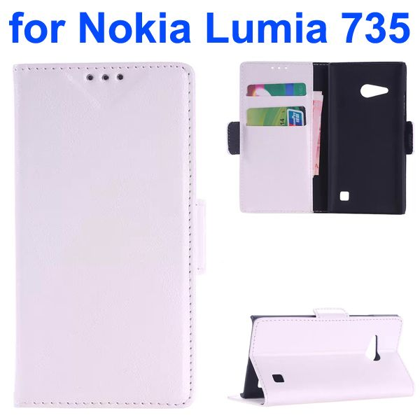 OEM Factory China Oil Coated Wallet Mobile Flip Cover for Nokia Lumia 735 (White)
