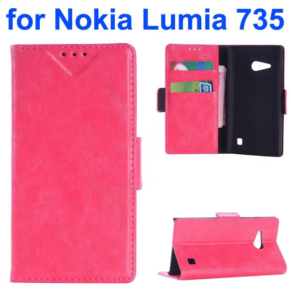 OEM Factory China Oil Coated Wallet Mobile Flip Cover for Nokia Lumia 735 (Rose)