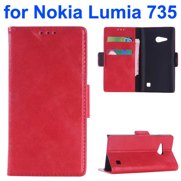 OEM Factory China Oil Coated Wallet Mobile Flip Cover for Nokia Lumia 735 (Red)