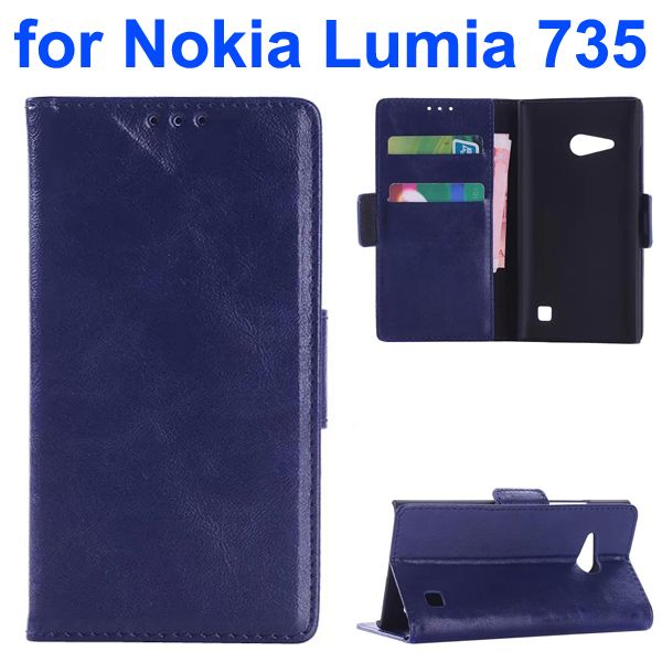 OEM Factory China Oil Coated Wallet Mobile Flip Cover for Nokia Lumia 735 (Dark Blue)