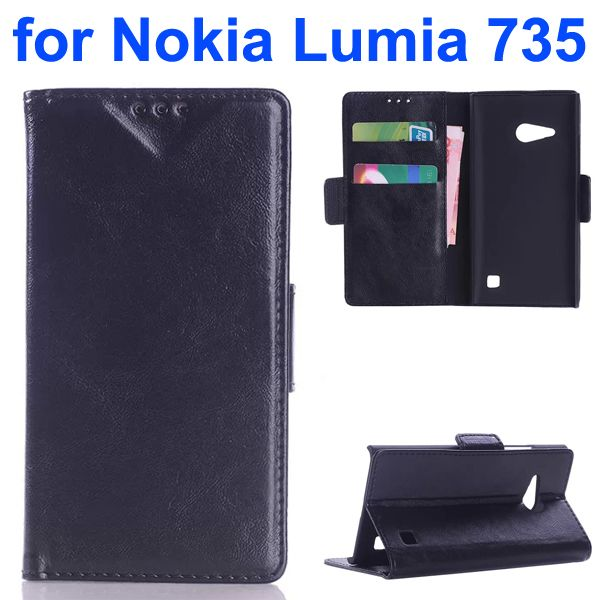 OEM Factory China Oil Coated Wallet Mobile Flip Cover for Nokia Lumia 735 (Black)
