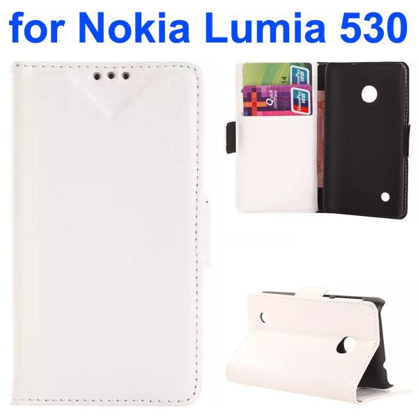 Soft Texture Oily Leather Flip Cover for Nokia Lumia 530 with Card Slots (White)