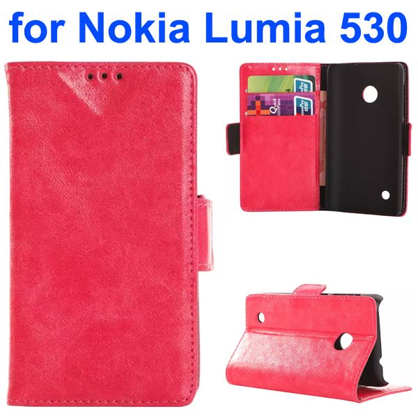 Soft Texture Oily Leather Flip Cover for Nokia Lumia 530 with Card Slots (Pink)