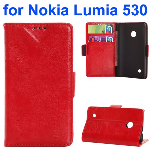Soft Texture Oily Leather Flip Cover for Nokia Lumia 530 with Card Slots (Red)