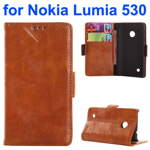 Soft Texture Oily Leather Flip Cover for Nokia Lumia 530 with Card Slots (Brown)