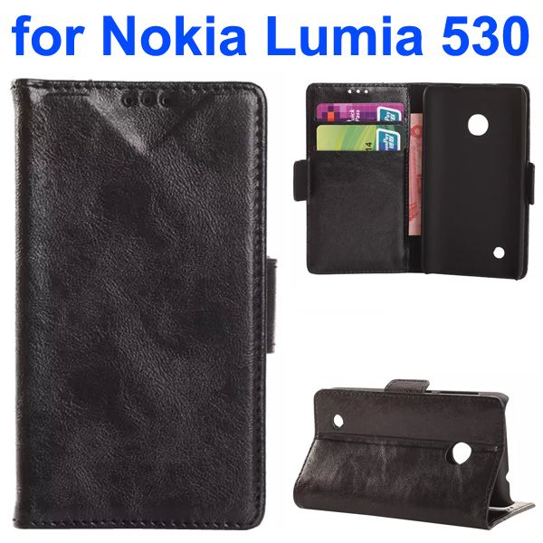 Soft Texture Oily Leather Flip Cover for Nokia Lumia 530 with Card Slots (Black)