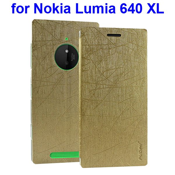 Silk Texture Folio Leather Case for Nokia Lumia 640 XL with Stand and Little Sucker(Golden)