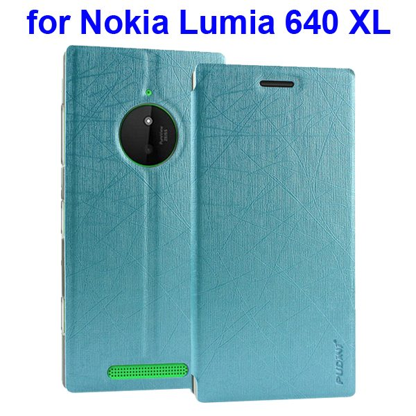 Silk Texture Folio Leather Case for Nokia Lumia 640 XL with Stand and Little Sucker(Blue)