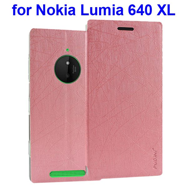 Silk Texture Folio Leather Case for Nokia Lumia 640 XL with Stand and Little Sucker(Pink)