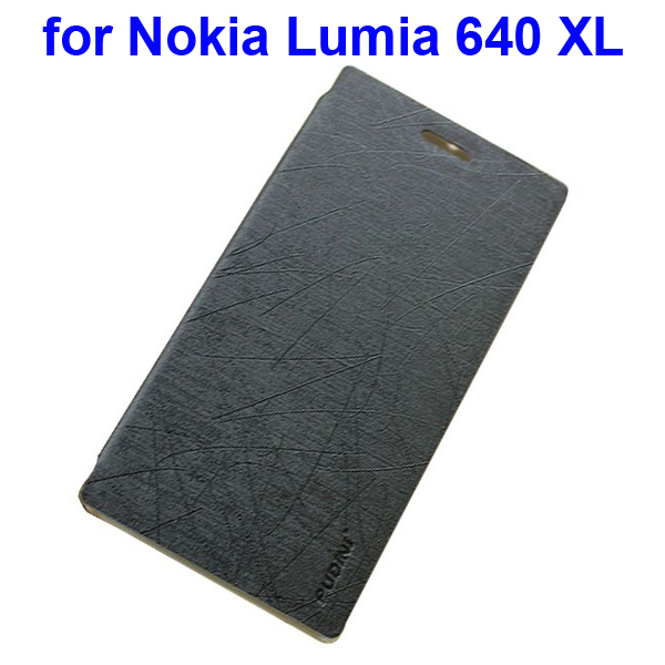 Silk Texture Folio Leather Case for Nokia Lumia 640 XL with Stand and Little Sucker(Black)