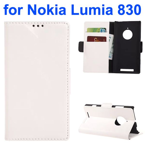 Oil-coated PU Wallet Leather Flip Cover for Nokia Lumia 830 with Card Slots and Logo Hole (White)
