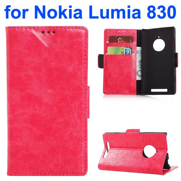 Oil-coated PU Wallet Leather Flip Cover for Nokia Lumia 830 with Card Slots and Logo Hole (Rose)