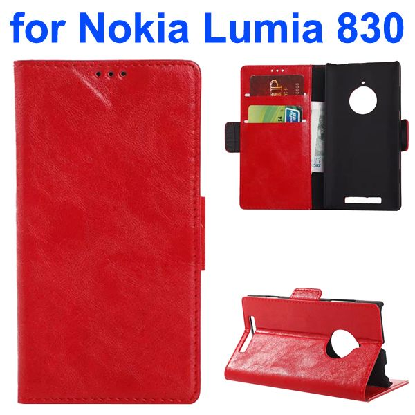 Oil-coated PU Wallet Leather Flip Cover for Nokia Lumia 830 with Card Slots and Logo Hole (Red)