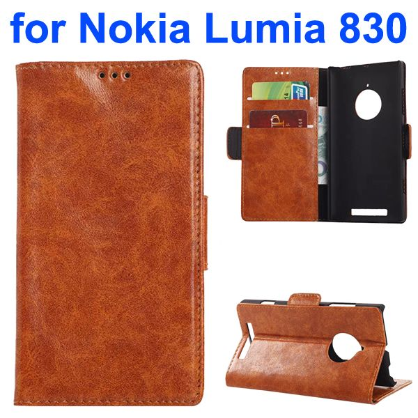 Oil-coated PU Wallet Leather Flip Cover for Nokia Lumia 830 with Card Slots and Logo Hole (Brown)