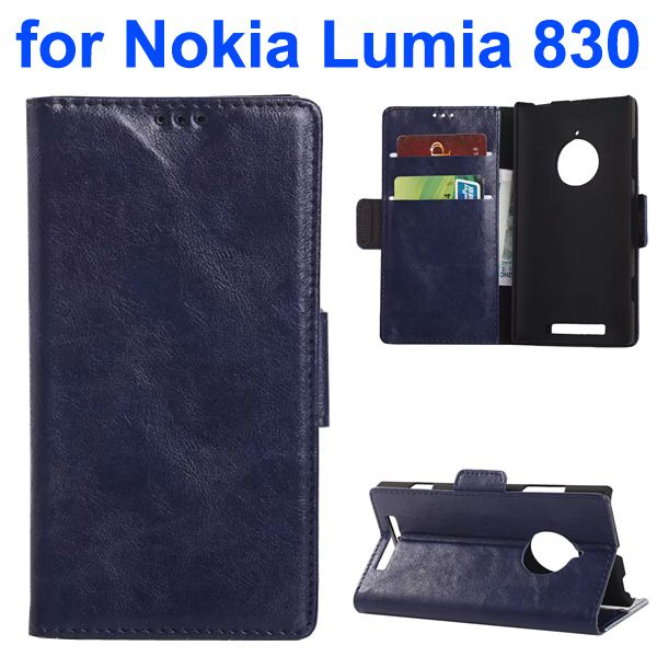Oil-coated PU Wallet Leather Flip Cover for Nokia Lumia 830 with Card Slots and Logo Hole (Dark Blue)