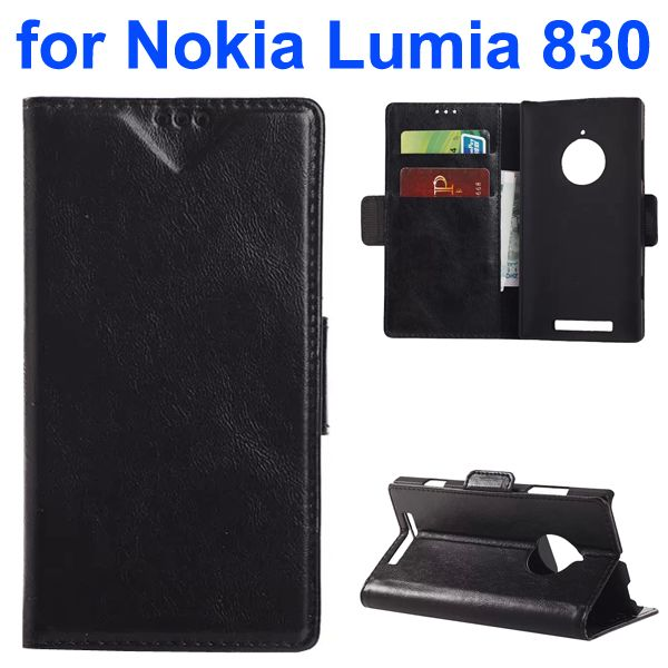 Oil-coated PU Wallet Leather Flip Cover for Nokia Lumia 830 with Card Slots and Logo Hole (Black)