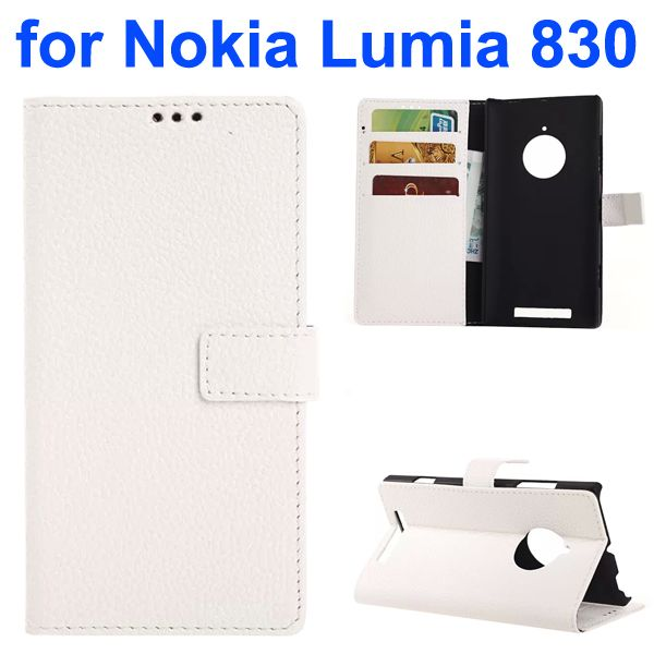 Litchi Texture PU Wallet Flip Leather Case for Nokia Lumia 830 with Card Slots and Logo Hole (White)