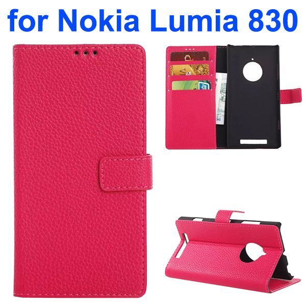 Litchi Texture PU Wallet Flip Leather Case for Nokia Lumia 830 with Card Slots and Logo Hole (Rose)