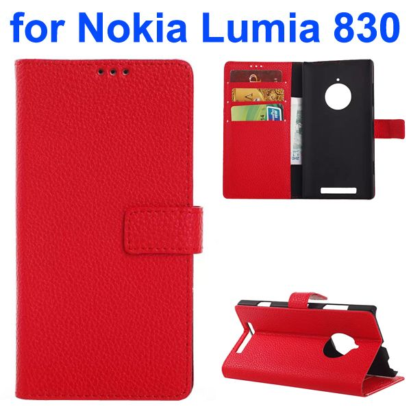 Litchi Texture PU Wallet Flip Leather Case for Nokia Lumia 830 with Card Slots and Logo Hole (Red)
