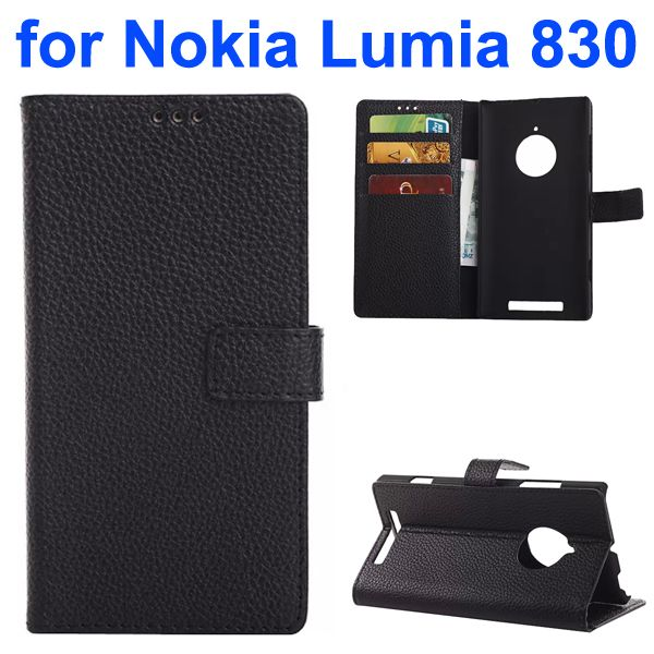 Litchi Texture PU Wallet Flip Leather Case for Nokia Lumia 830 with Card Slots and Logo Hole (Black)
