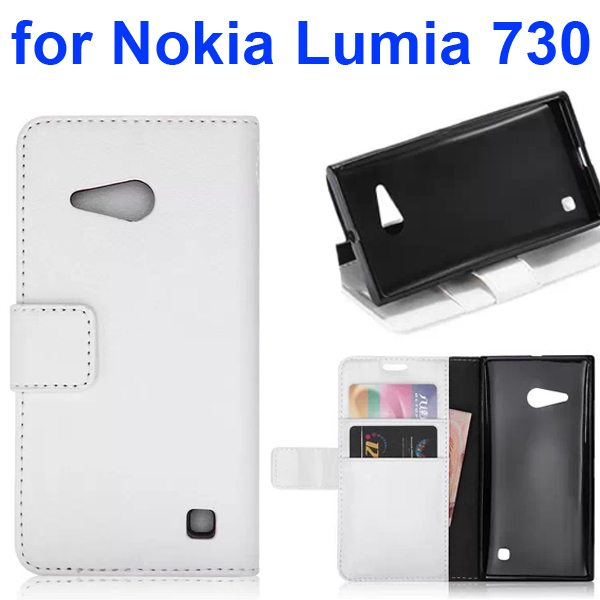 Smooth Texture Wallet Flip Leather Case Cover for Nokia Lumia 730 with Card Slots (White)