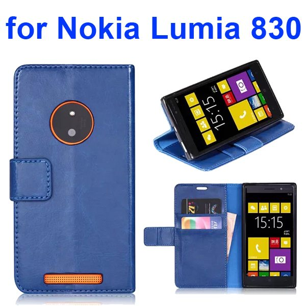 Smooth Texture TPU and PU Leather Flip Wallet Case for Nokia Lumia 830 with Card Slots (Blue)