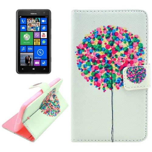 OEM Manufacturer PU Leather Mobile Phone Case Wallet Cover for Nokia Lumia 625 (Balloon Group)
