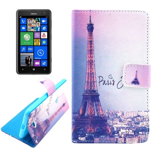 OEM Manufacturer PU Leather Mobile Phone Case Wallet Cover for Nokia Lumia 625 (Tower)