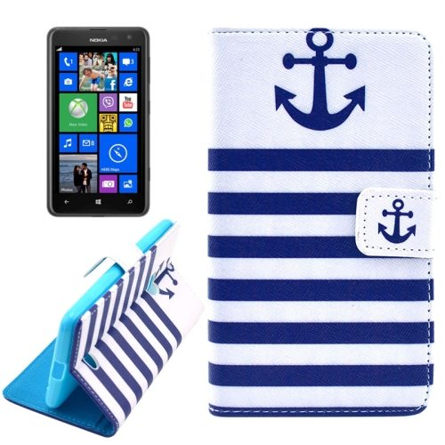 OEM Manufacturer PU Leather Mobile Phone Case Wallet Cover for Nokia Lumia 625 (Anchor)