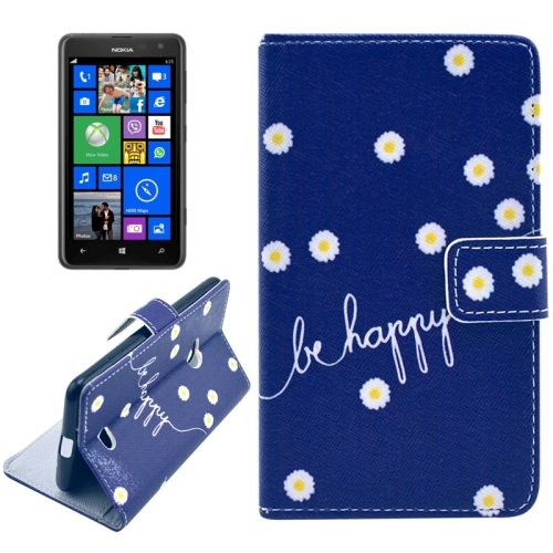 OEM Manufacturer PU Leather Mobile Phone Case Wallet Cover for Nokia Lumia 625 (Be Happy)