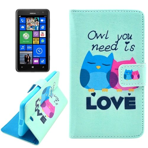 OEM Manufacturer PU Leather Mobile Phone Case Wallet Cover for Nokia Lumia 625 (Two Owls)