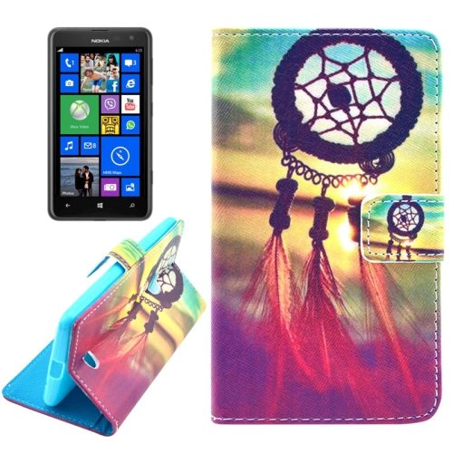OEM Manufacturer PU Leather Mobile Phone Case Wallet Cover for Nokia Lumia 625 (Wind Bell)