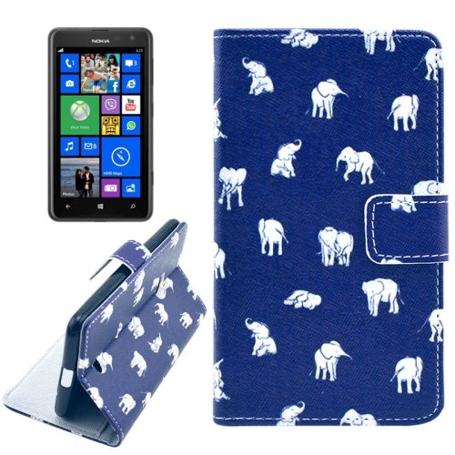 OEM Manufacturer PU Leather Mobile Phone Case Wallet Cover for Nokia Lumia 625 (Little Elephants)