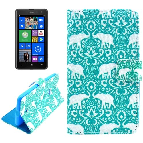OEM Manufacturer PU Leather Mobile Phone Case Wallet Cover for Nokia Lumia 625 (Green Elephants)