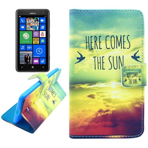 OEM Manufacturer PU Leather Mobile Phone Case Wallet Cover for Nokia Lumia 625 (Here Comes the Sun)