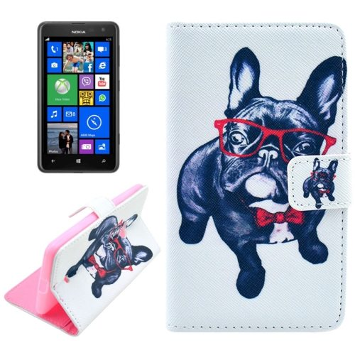 OEM Manufacturer PU Leather Mobile Phone Case Wallet Cover for Nokia Lumia 625 (Cool Dog)